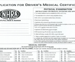 NHRA APPLICATION FOR DRIVER'S MEDICAL CERTIFICATE